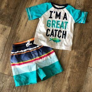 Baby Boy Swim Set - EUC - 12-18 mos
